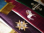 Embroidery Designs for Vestments: The Scroll Cross on vestment.