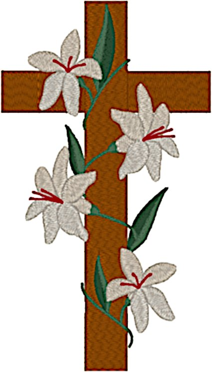 Lilies Upon the Cross Embroidery Design