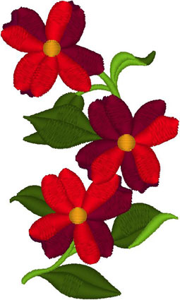 Red Crimson Dogwood Embroidery Design