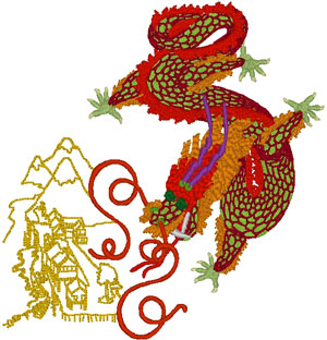 Chinese Village Dragon Embroidery Design