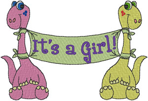 It's a Girl! Baby Dinosaur Banner Embroidery Design