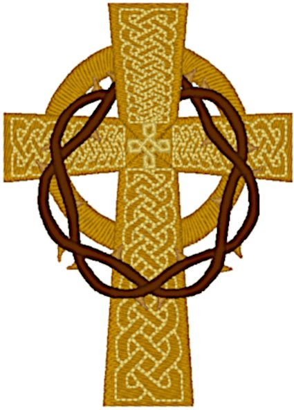 Celtic Cross with Draped Crown of Thorns Embroidery Design