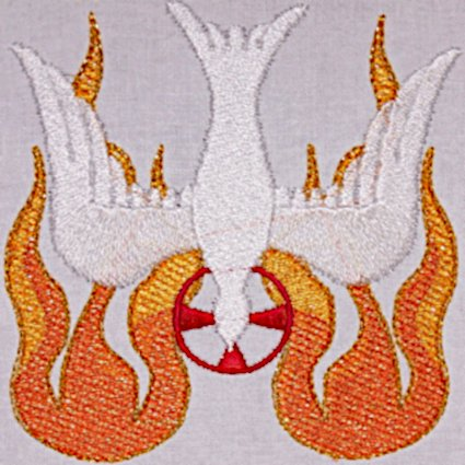 Holy Spirit with Blended Flame Embroidery Design