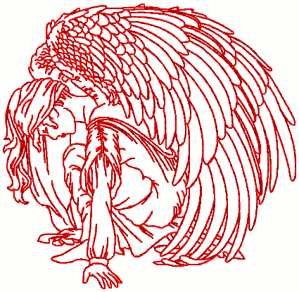 Redwork Kneeling Adoration Angel Embroidery Design