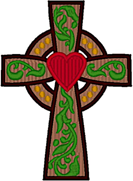 Celtic Cross & Heart Embroidery Design