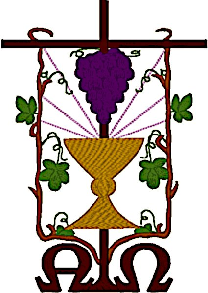 Alpha & Omega, Grapes with Chalice Embroidery Design