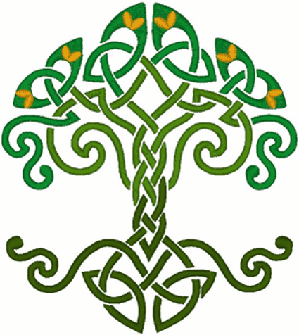 celtic knotted tree of life embroidery design