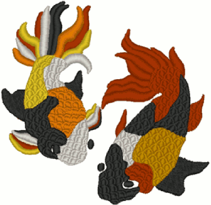 Two Swimming Koi Embroidery Design