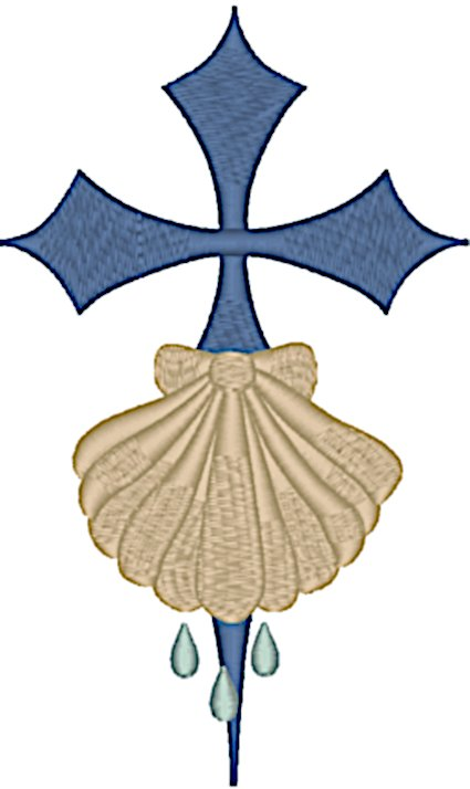 St. James Cross with Baptism Shell Embroidery Design