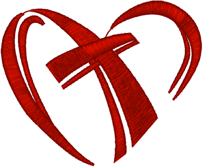 Cross in Heart Embroidery Design
