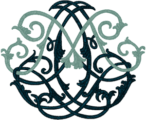 Ornate Marian Monogram Embroidery Design