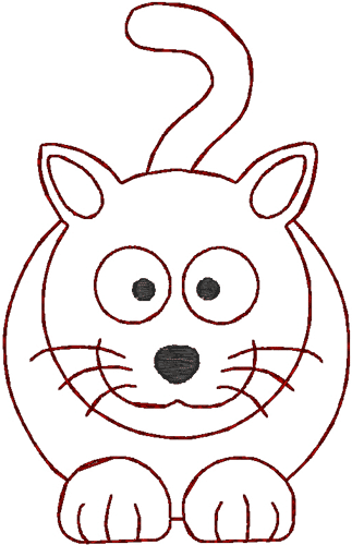 Smiling Redwork Kitty Embroidery Design