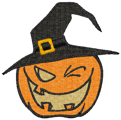 Witchy Hat Pumpkin Embroidery Design