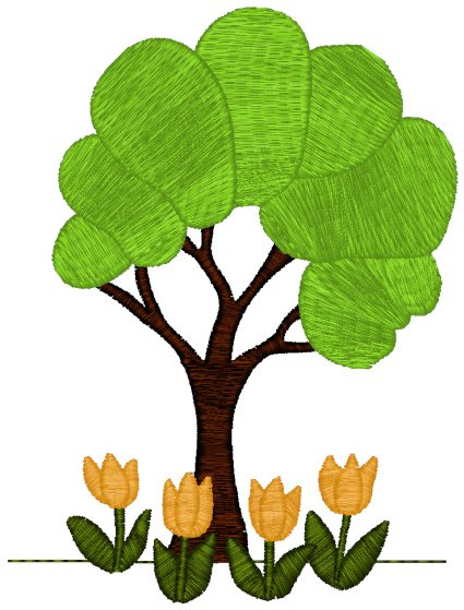 Tree & Tulips Embroidery Design