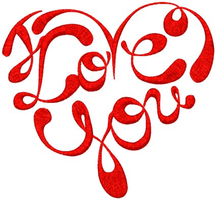 I Love You Heart Embroidery Design