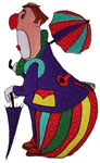 Clown with Umbrellas Embroidery Design