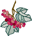 Ornate Leaves & Berries Embroidery Design
