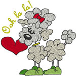 French Love Poodle Embroidery Design
