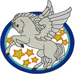 Pegasus Among the Stars Embroidery Design
