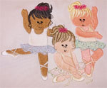 3 Darling Ballerinas Embroidery Design