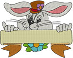 Easter Bunny Name Frame Embroidery Design