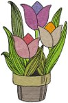 Potted Spring Tulips Embroidery Design