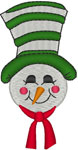 Snowman with Big Hat Embroidery Design