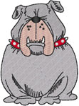 Squinting Bulldog Embroidery Design
