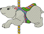Carousel Polar Bear Embroidery Design