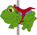 Carousel Frog Embroidery Design