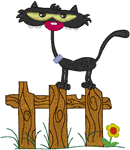 Goofy Cat on Fence Embroidery Design