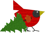 Christmas Tree Cardinal Embroidery Design