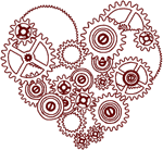 Redwork Steampunk Heart Embroidery Design