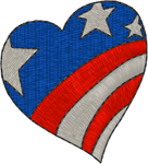 Small Patriotic Heart Embroidery Design