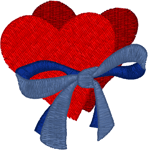 Ribbon and Hearts Embroidery Design