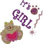 It's a Girl! Teddy Announcement Embroidery Design