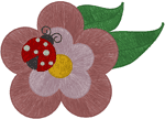 Ladybird on Flower Embroidery Design