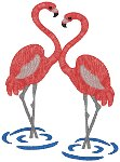 Two Wading Flamingos Embroidery Design