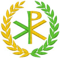 Mega Chi Rho w/ Olive Branches Embroidery Design