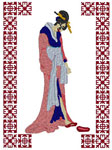 Geisha with Slippers Embroidery Design